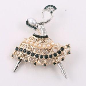 Jeweled Fan Dancer Brooch
